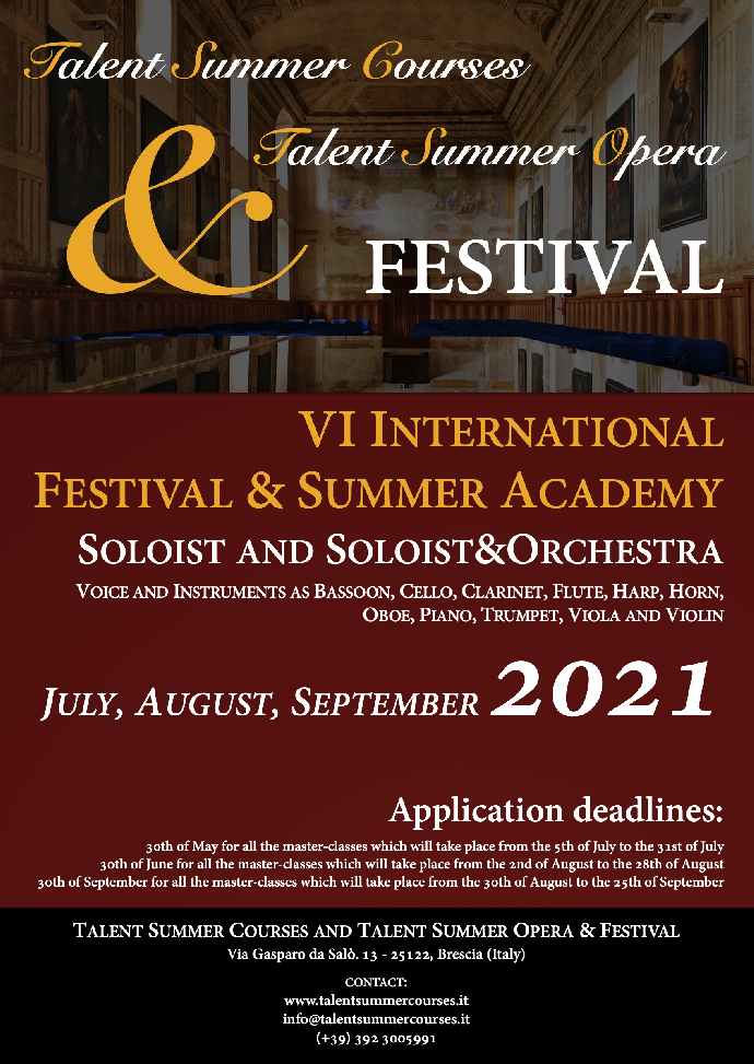Talent Summer Courses and Opera & FESTIVAL